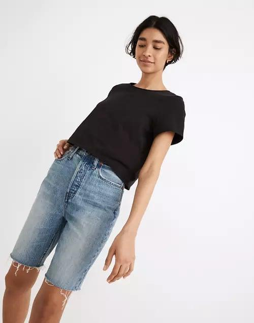 <p>Short shorts aren't for everyone (or everyday) so switch things up with a pair of relaxed-fitting <span>Madewell High-Rise Long Denim Shorts in Brightwater Wash</span> ($75) next. </p>