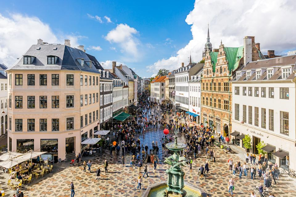 Aerial view of shopping street and main city square in Copenhagen old town, Denmark