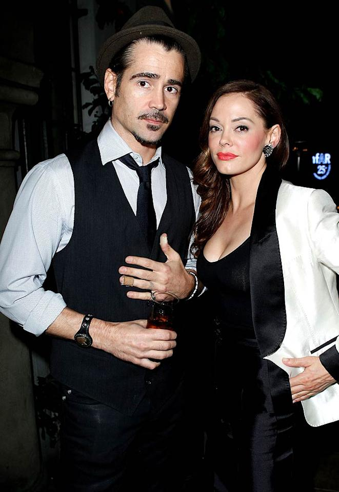 """Actors Colin Farrell (""""Horrible Bosses"""") and Rose McGowan (""""Grindhouse"""") both dressed to impress at the swanky soiree. (10/27/2011)"""