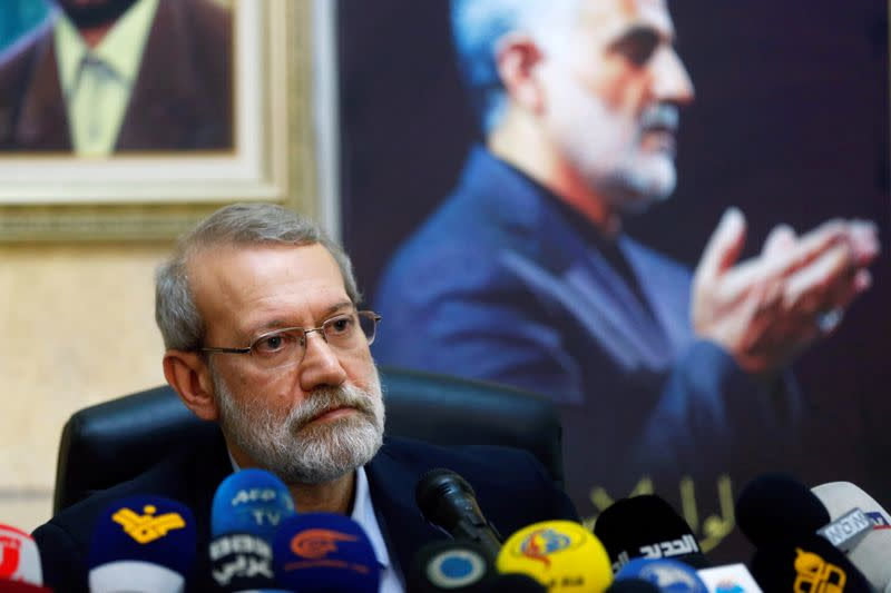 Iranian parliament speaker Ali Larijani attends a news conference at the Iranian embassy in Beirut's southern suburbs
