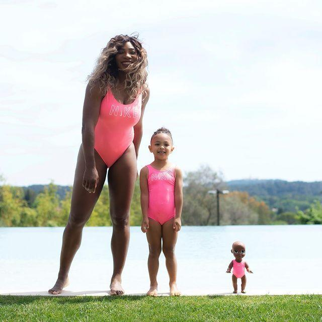 """<p>The mother and daughter (and Olympia's doll, Qai Qai!) co-ordinated in pink Nike swimsuits. </p><p><a href=""""https://www.instagram.com/p/COc7Oken9el/"""" rel=""""nofollow noopener"""" target=""""_blank"""" data-ylk=""""slk:See the original post on Instagram"""" class=""""link rapid-noclick-resp"""">See the original post on Instagram</a></p>"""