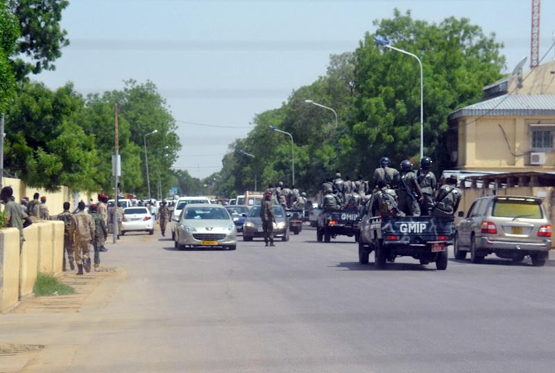 Police forces, like these officers seen in N'Djamena on June 15, 2015, shot dead a student when soldiers broke up a fresh protest in the country over a girl's brutal gang rape, hospital sources said