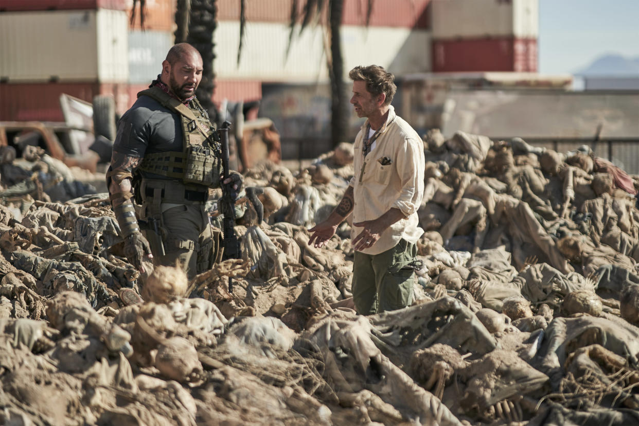 Dave Bautista and Zack Snyder on the set of Army of the Dead (Netflix)