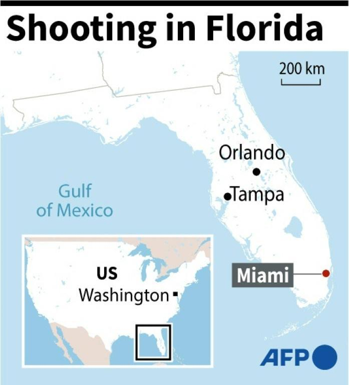 Map of US state of Florida locating Miami where a shooting occurred outside a concert