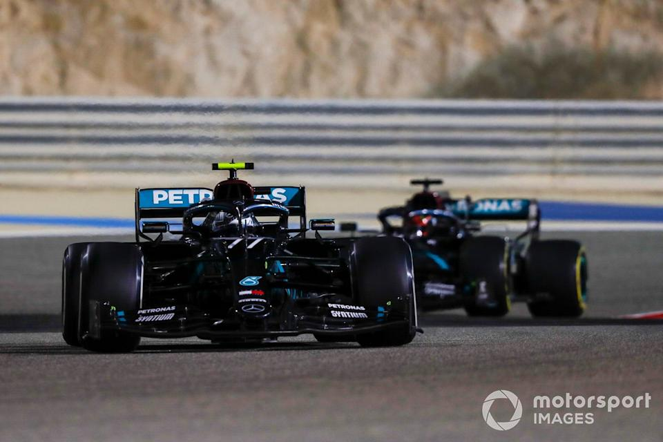 """Valtteri Bottas, Mercedes F1 W11, George Russell, Mercedes F1 W11 <span class=""""copyright"""">Charles Coates / Motorsport Images</span>"""