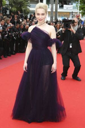 Emilia Clarke, Emilia Clarke Cannes 2018, Emilia Clarke Cannes dress, Emilia Clarke purple tulle gown, Emilia Clarke latest photos, Emilia Clarke fashion, Emilia Clarke Game of Thrones, indian express, indian express news, Cannes Film Festival, powerful looks, memorable looks of all times, audrey hepburn, julia roberts, Princess Diana, Madonna, Charlize Theron, Alessandra Ambrosio, Blake Lively, Bella Hadid, Natalie Portman, Freida Pinto, Hollywood, Italian, actors, actresses at Cannes, glamourous looks of all times, glamour quotient, Emilia Clarke, Cannes, French, France, cinematic voice, new cinema, Paris, French Riviera festival, coast off Maine, French Riviera, Aishwarya Rai Bachchan, indianexpress.com, indianexpressonline, indianexpress, Cannes 2019, Cannes over the years, latest photoshoots, actresses