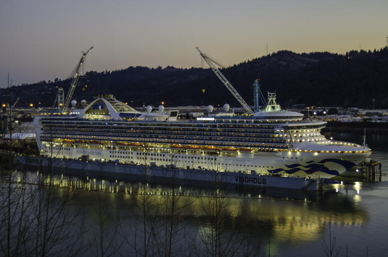 "Renewed Princess Cruises ship ""Grand Princess"" on its last night in dry dock in Portland, Oregon. Vigorous shipyard."