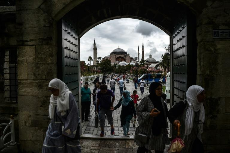 Athens is unhappy over Turkey's upkeep of Byzantine heritage in Istanbul, including at the Hagia Sophia (in the background), which is officially a museum but has seen an uptick in Muslim worship