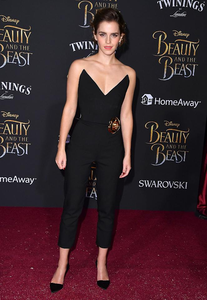 """<p>The star inan Oscar de la Renta Jumpsuit adorned with a gold rose —a nod to the flower the film's fans know so well— atthe 'Beauty and the Beast' Los Angeles premiere on March 2. (Photo: Steve Granitz/WireImage)<br /> <p></p>  <img alt=""""image"""" width=""""1024"""" height=""""1407""""/> <p>Luke Evans and Josh Gad</p><p> Charming duo performed a song for the crowd, then posed for photographers at the L.A. premiere. (Photo: Todd Williamson/Getty Images)<br /> <p></p>  <img alt=""""image"""" width=""""1024"""" height=""""790""""/> <p>Céline Dion, Emma Watson, and Dan Stevens</p><p> Dion, who performs a song on the soundtrack, joins the film'stwo leads for a photo. (Photo: Jesse Grant/Getty Images)<br /> <p></p>  <img alt=""""image"""" width=""""1024"""" height=""""1461""""/> <p>Chrissy Teigen and John Legend</p><p> Mr. and Mrs. Legend at the L.A. premiere; he performs the title song onthe 'Beauty and the Beast' soundtrack. (Photo: Frazer Harrison/Getty Images)<br /> <p></p>  <img alt=""""image"""" width=""""1024"""" height=""""863""""/> <p>'Beauty and the Beast' Cast</p><p> Director Bill Condon (front, left) and composer Alan Menken (front, right) join cast members Stevens, Watson, and Audra McDonald (front, left to right) and Evans, Gugu Mbatha-Raw Stevens, and Gad (back row, left to right) for a photo before the premiere. (Photo: Alberto E. Rodriguez/Getty Images)<br /> <p></p>  <img alt=""""image"""" width=""""1024"""" height=""""1284""""/> <p>Dan Stevens and Emma Watson</p><p> The Beast and his beauty dazzle at the 'Beauty and the Beast' premiere in Shanghai, China, on Feb. 27. (Photo: VCG/Getty Images)<br /><br /><br /><br /><br /> <p></p>  <img alt=""""image"""" width=""""1024"""" height=""""1534""""/> <p>Emma Watson</p><p> Actress once again proves she is princess-ready in this stunning jeweled Elie Saab Couture gown. (Photo: VCG/Getty Images)<br /><br /><br /><br /><br /> <p></p>  <img alt=""""image"""" width=""""1024"""" height=""""765""""/> <p>'Beauty and the Beast' Cast</p><p> Director Bill Condon joins the cast on stage at the Shanghai press conference on Feb. 28. (Photo: VC"""