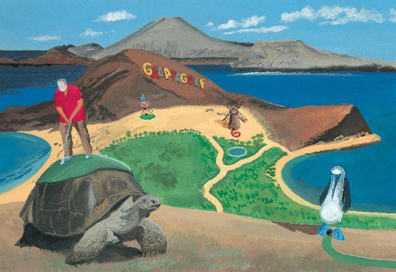 """This image released by Blue Rider Press shows an illustration from the book, """"This Land Was Made for You and Me (But Mostly Me): Billionaires in the Wild,"""" by Bruce McCall and David Letterman. McCall, 78, depicts a wonderland of gracious living that is extravagantly large. (AP Photo/Blue Rider Press)"""