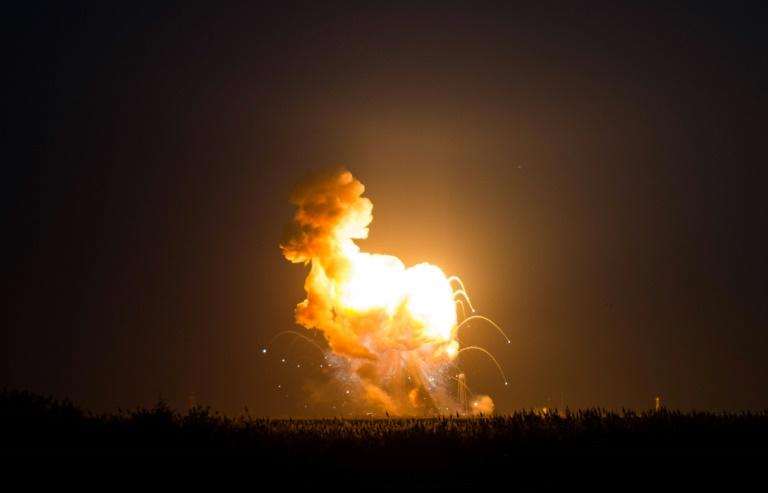 The Orbital Sciences Corporation Antares rocket, with the Cygnus spacecraft onboard, suffers a catastrophic anomaly moments after launch from the Mid-Atlantic Regional Spaceport Pad 0A, at NASA's Wallops Flight Facility in Virginia, in October 2014