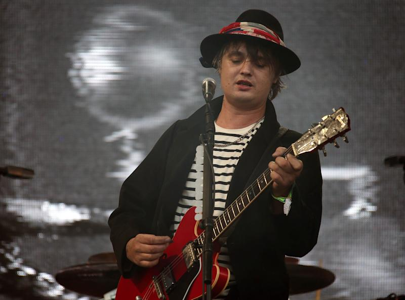 Pete Doherty of The Libertines performs on the Pyramid stage during Glastonbury Music Festival on Friday, June 26, 2015 at Worthy Farm, Glastonbury, England. (Photo by Joel Ryan/Invision/AP)