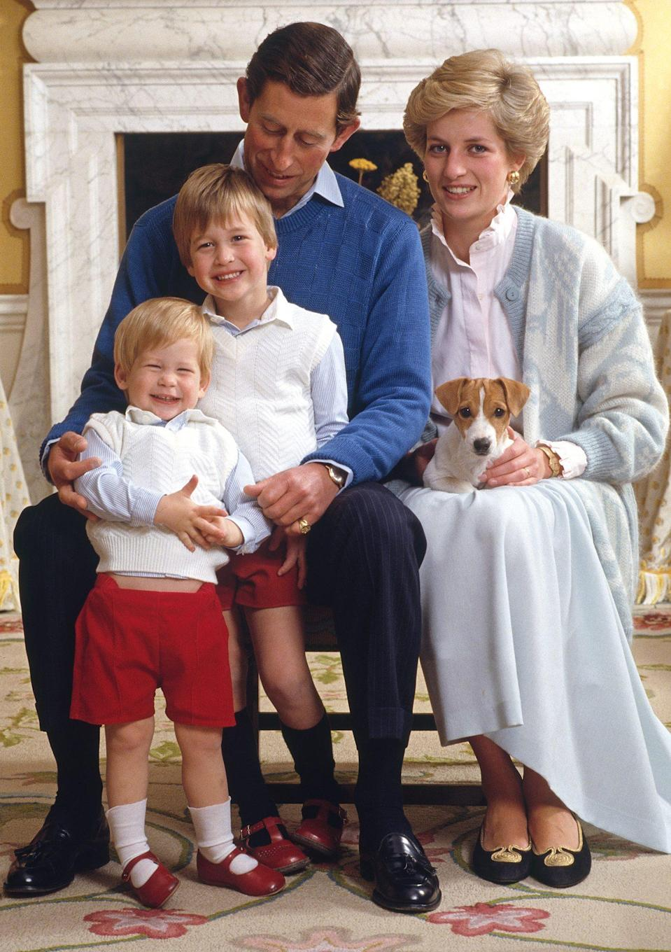 <p>For a family portrait (including a cute pup!), Diana coordinated her blue skirt with an oversized cardigan.</p>