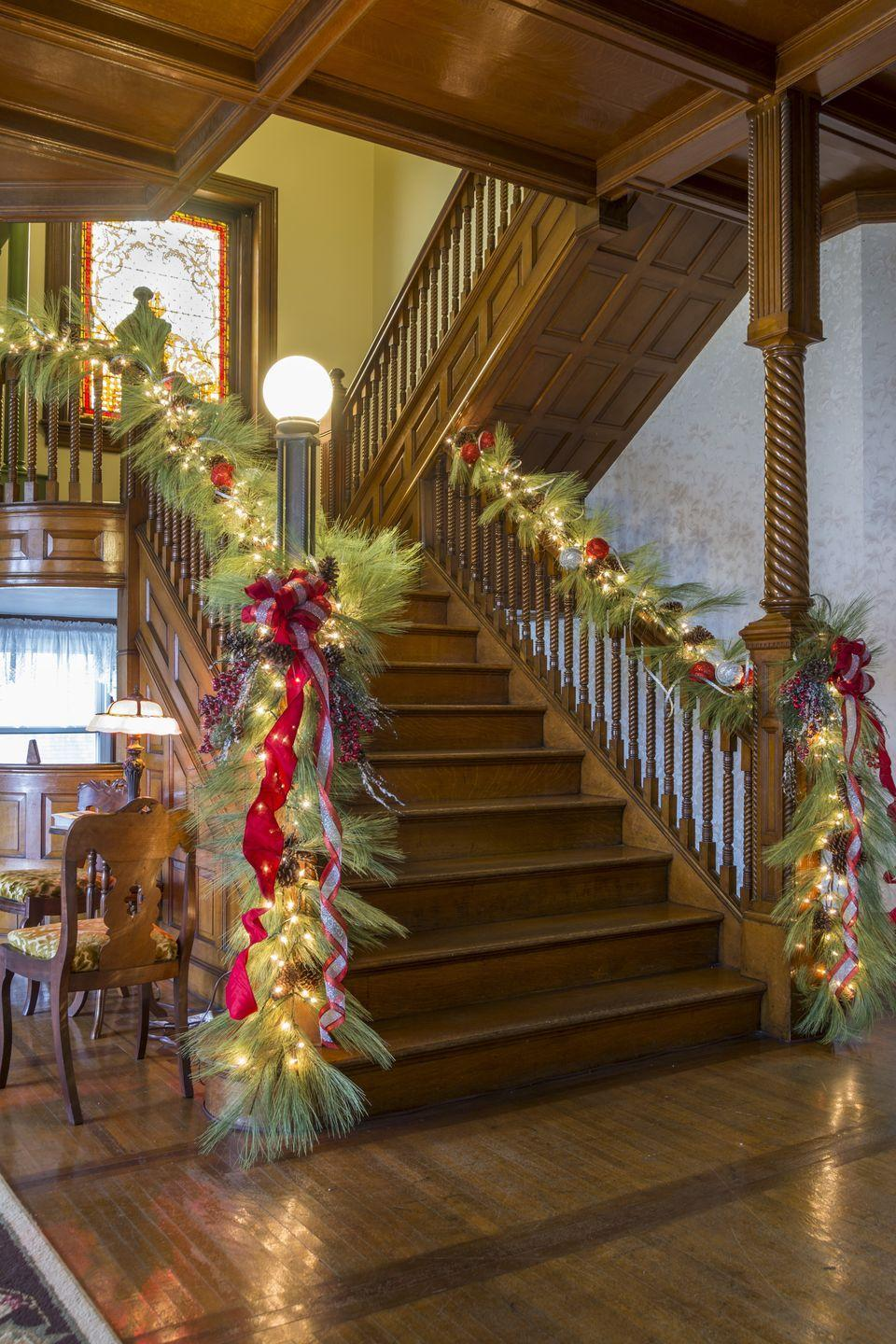 <p>Unlike traditional garland, needle pines are much fuller and will provide a subtly unique twist to your banister.</p>