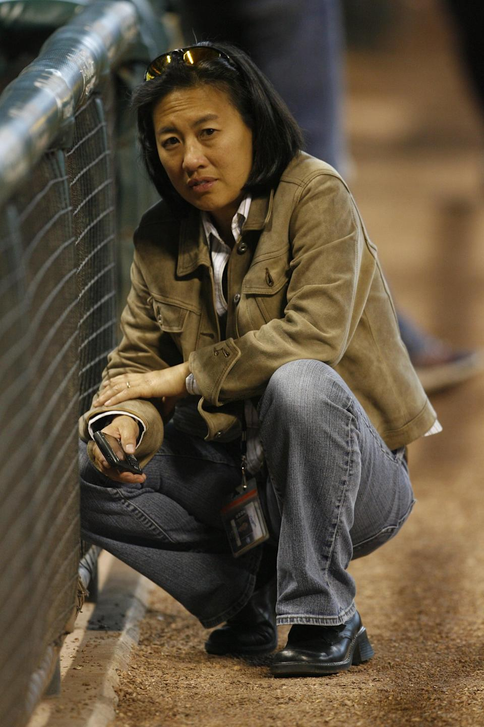 23 April 2009: Los Angeles Dodgers vice president and assistant general manager Kim Ng looks on prior to the Los Angeles Dodgers vs. Houston Astros baseball game at Minute Maid Park on Thursday April 23, 2009 in Houston, Texas. Los Angeles won 2-0. (Photo by Aaron M. Sprecher/Icon SMI/Corbis/Icon Sportswire via Getty Images)