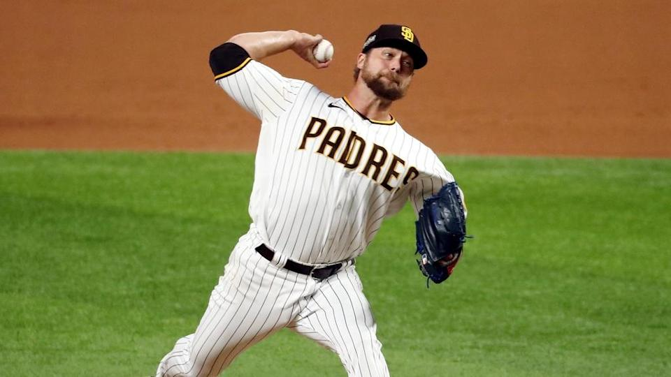 Trevor Rosenthal pitching white Padres jersey