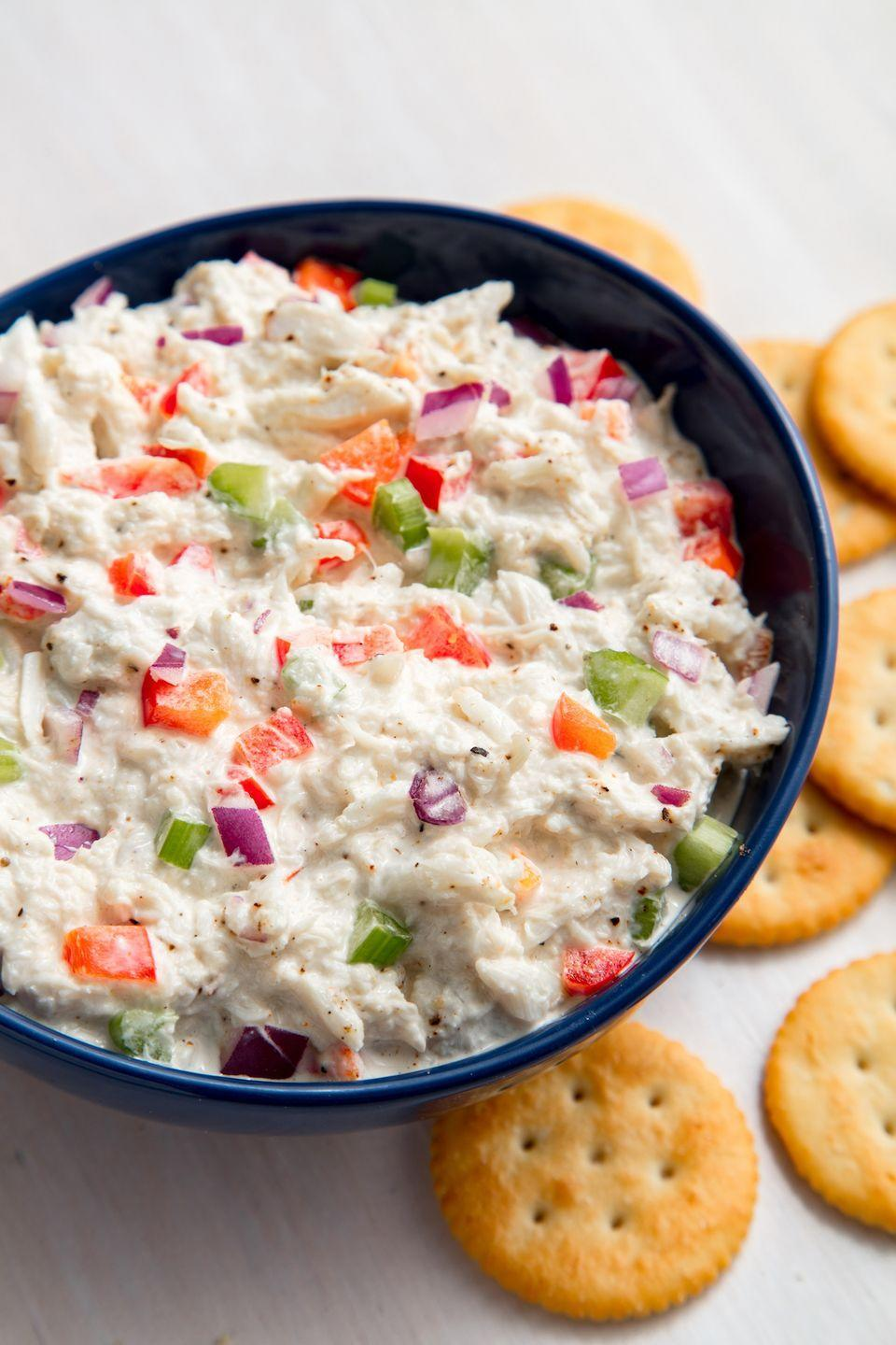 "<p>Get the crackers ready. </p><p>Get the recipe from <a href=""https://www.delish.com/cooking/recipe-ideas/a19885371/best-crab-meat-salad-recipe/"" rel=""nofollow noopener"" target=""_blank"" data-ylk=""slk:Delish"" class=""link rapid-noclick-resp"">Delish</a>.</p>"