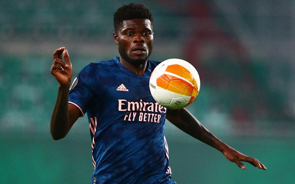 Arsenal's Thomas Partey in action against Rapid Vienna  - Reuters