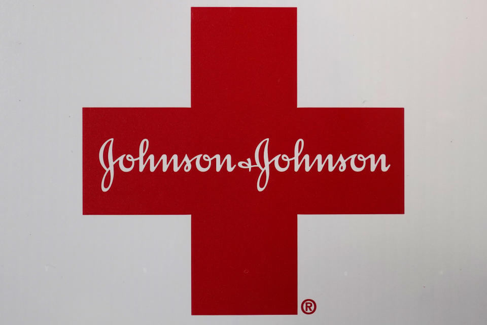 FILE - In this Feb. 24, 2021, file photo, Johnson & Johnson logo appears on the exterior of a first aid kit in Walpole, Mass. The three biggest U.S. drug distribution companies and the drugmaker Johnson & Johnson are on the verge of a $26 billion settlement covering thousands of lawsuits over the toll of opioids across the U.S., two people with knowledge of the plans told The Associated Press. The settlement involving AmerisourceBergen, Cardinal Health and McKesson is expected this week. A $1 billion-plus deal involving the three distributors and the state of New York was planned for Tuesday, July 20. (AP Photo/Steven Senne, File)