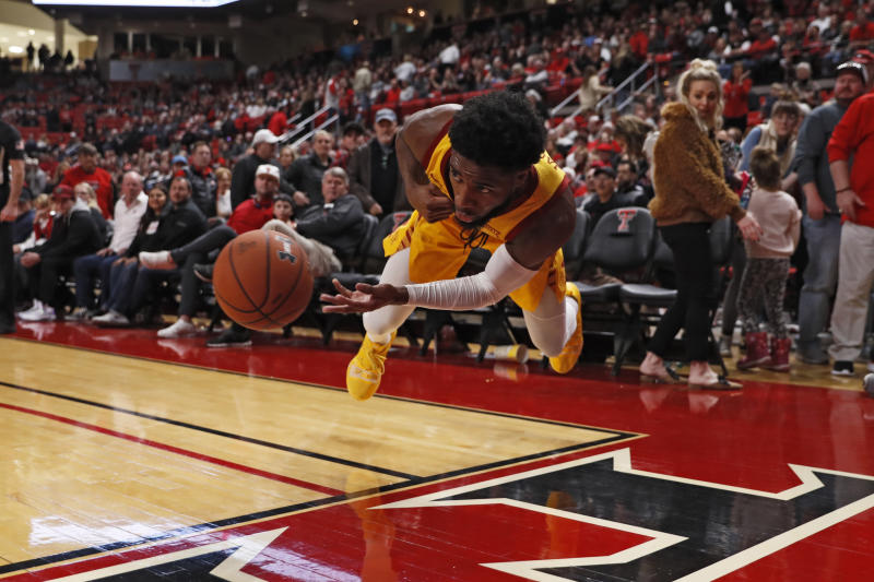 Iowa State's Tre Jackson (3) dives to keep the ball in bounds during the second half of an NCAA college basketball game against Texas Tech, Saturday, Jan. 18, 2020, in Lubbock, Texas. (AP Photo/Brad Tollefson)
