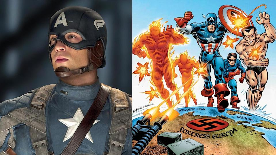 Chris Evans as Captain America in The First Avenger, alongside his Marvel Comics teammates the Invaders.