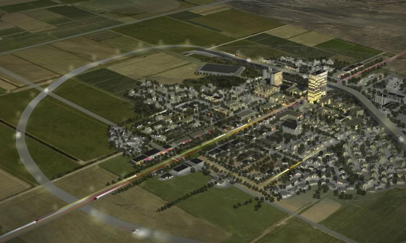 This artist rendering provided by the Center for Innovation, Testing and Evaluation shows the $1 billion scientific ghost town that will be developed in Lea County near Hobbs, N.M. Officials said the city without residents will be developed to help researchers test everything from intelligent traffic systems and next-generation wireless networks to automated washing machines and self-flushing toilets. (AP Photo/Center for Innovation, Testing and Evaluation)
