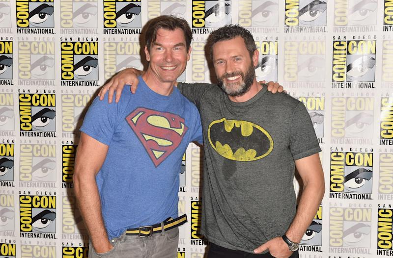 "Jerry O'Connell and Jason O'Mara attend 'The Death Of Superman"" press line during Comic-Con 2018. (Photo by Jerod Harris/Getty Images)"