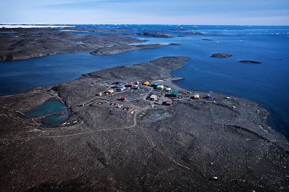 An aerial view of the Australian Antarctic Division's Davis research station in Antarctica.
