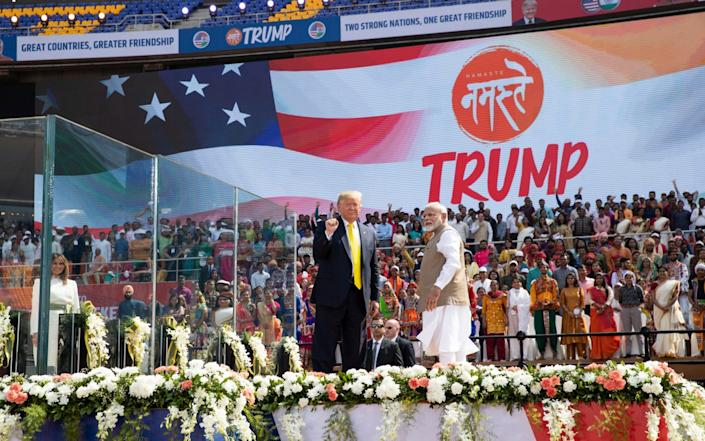 Mr Trump speculated that 10m people would attend his welcome rally - AP
