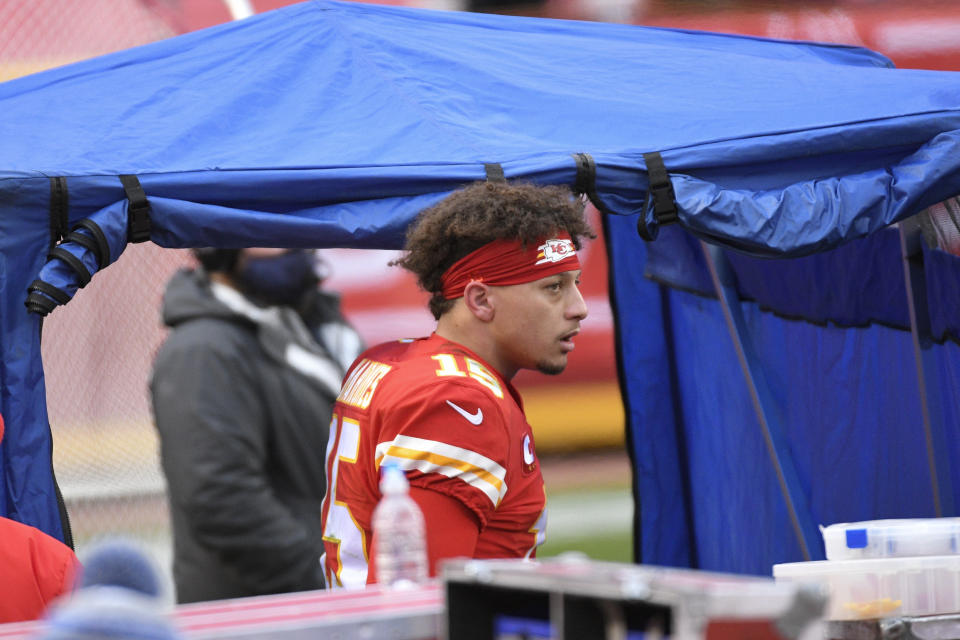 Patrick Mahomes says he has recovered from the concussion he suffered Sunday against the Browns. His injured toe has improved also, he said Friday. (AP Photo/Reed Hoffmann)