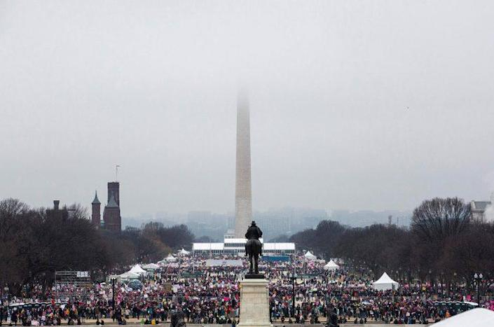 Protesters crowd the National Mall in Washington during the Womens March on Saturday. (Photo: Zach Gibson/AFP/Getty Images)