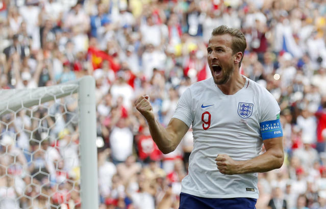<p>England's Harry Kane celebrates after he scored his side's second goal during the group G match </p>