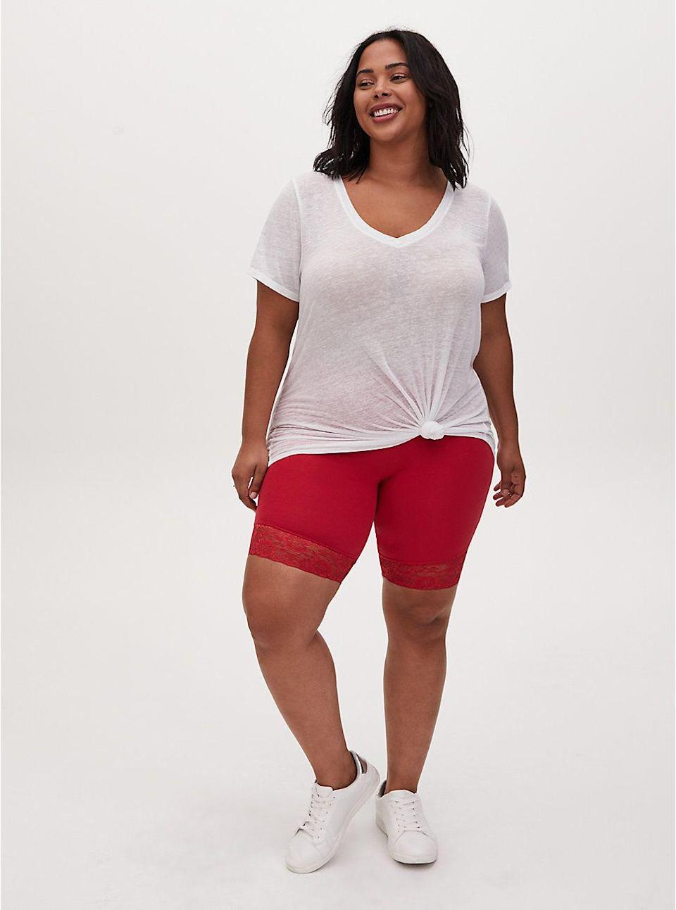 """<p><strong>red</strong></p><p>torrid.com</p><p><strong>$15.75</strong></p><p><a href=""""https://go.redirectingat.com?id=74968X1596630&url=https%3A%2F%2Fwww.torrid.com%2Fproduct%2Fred-lace-trim-bike-short%2F13107153.html%3Fcgid%3DClothing_Bottoms_Shorts%23start%3D16&sref=https%3A%2F%2Fwww.goodhousekeeping.com%2Fbeauty%2Ffashion%2Fg31811906%2Fcute-summer-outfits%2F"""" rel=""""nofollow noopener"""" target=""""_blank"""" data-ylk=""""slk:Shop Now"""" class=""""link rapid-noclick-resp"""">Shop Now</a></p><p>Whether you're running errands in the heat or headed on a hike, an easy summer outfit involves a great pair of bike shorts. To complete the look, throw on your favorite t-shirt and sneakers. </p>"""