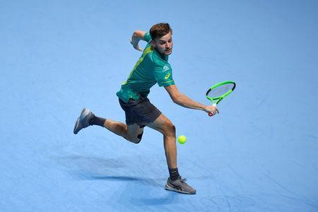 Tennis - ATP World Tour Finals - The O2 Arena, London, Britain - November 13, 2017 Belgium's David Goffin in action during his group stage match against Spain's Rafael Nadal Action Images via Reuters/Tony O'Brien