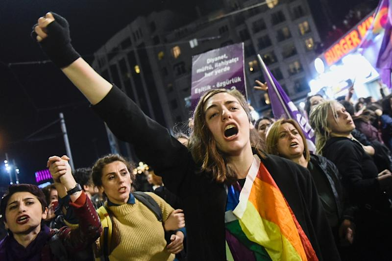 International Women's Day was marked by mass protests in cities across Europe (AFP Photo/Yasin AKGUL)