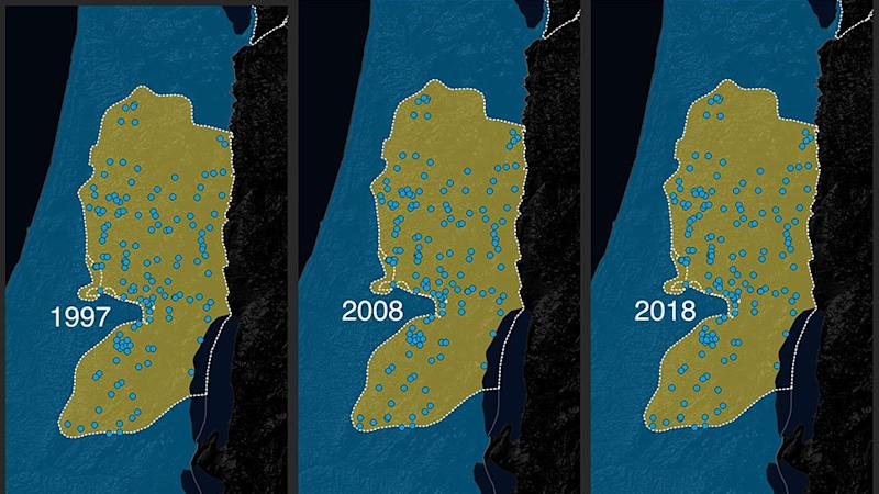 A map of Israeli settlements in the West Bank from 1997-2018