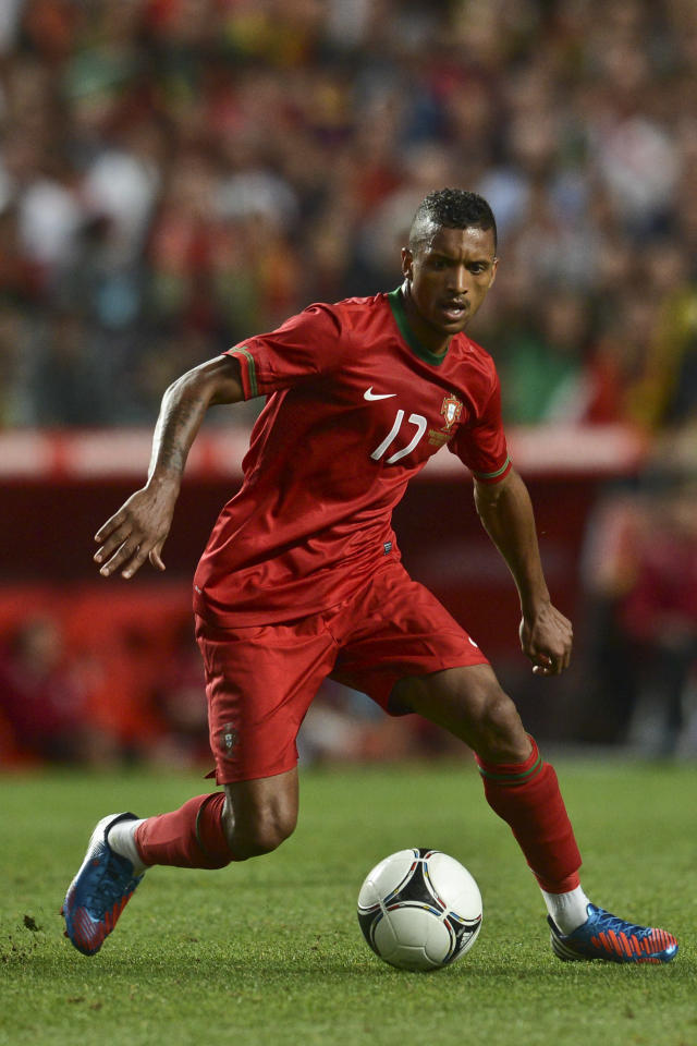 Portugal's midfielder Nani controls the ball on June 2, 2012 during a friendly football match against Turkey at the Luz Stadium in Lisbon in preparation for the Euro 2012 football championship, which will take place in Poland and Ukraine from June 8 to July 1. AFP PHOTO/ PATRICIA DE MELO MOREIRAPATRICIA DE MELO MOREIRA/AFP/GettyImages