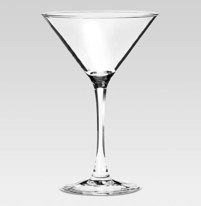 "You've probably got wine glasses in spades, but these martini glasses will make your next drink feel extra special. <a href=""https://fave.co/2wSCT4Q"" rel=""nofollow noopener"" target=""_blank"" data-ylk=""slk:Find the set of four for $15 at Target"" class=""link rapid-noclick-resp"">Find the set of four for $15 at Target</a>."
