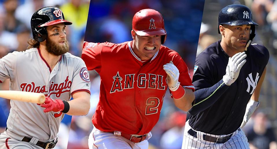 Big things are expected of Bryce Harper, Mike Trout and Giancarlo Stanton in 2018.