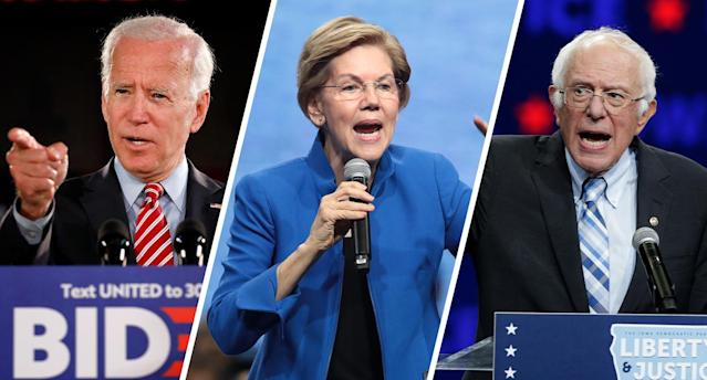 Joe Biden, Elizabeth Warren and Bernie Sanders on the campaign trail. (Photos: Rick Loomis/Getty Images, Scott Olson/Getty Images, Nati Harnik/AP)