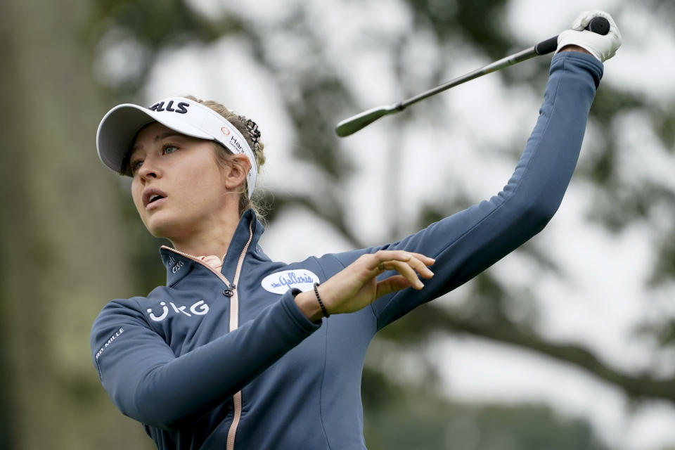 Nelly Korda hits off the fifth tee in the first round of the Cognizant Founders Cup LPGA golf tournament, Thursday, Oct. 7, 2021, in West Caldwell, N.J. (AP Photo/John Minchillo)