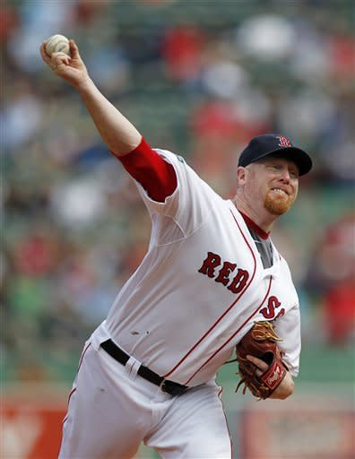 Boston Red Sox's Aaron Cook pitches in the first inning of a baseball game against the Baltimore Orioles in Boston, Saturday, Sept. 22, 2012. (AP Photo/Michael Dwyer)