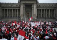 FILE PHOTO: Supporters of Peru's presidential candidate Keiko Fujimori gather outside the Palace of Justice, the seat of Peru's Supreme Court, during a demonstration in Lima