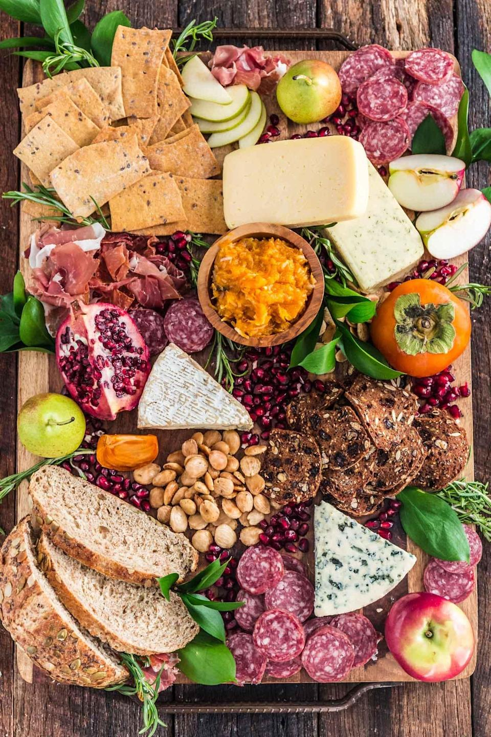 "<p>You can never go wrong with a cheese board, especially when it's fall-themed! This delightful spread includes everything from fig jam and fall fruits to a mouthwatering selection of charcuterie. Pair it with your favorite crackers and bread, and get ready to eat up!</p> <p><strong>Get the recipe:</strong> <a href=""https://www.oliviascuisine.com/fall-harvest-cheese-board/"" class=""link rapid-noclick-resp"" rel=""nofollow noopener"" target=""_blank"" data-ylk=""slk:fall harvest cheese board"">fall harvest cheese board</a></p>"