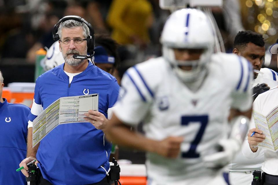 Dec 16, 2019; New Orleans, LA, USA; Indianapolis Colts head coach Frank Reich watches quarterback Jacoby Brissett (7) run onto the field in the fourth quarter at the Mercedes-Benz Superdome. Mandatory Credit: Chuck Cook-USA TODAY Sports