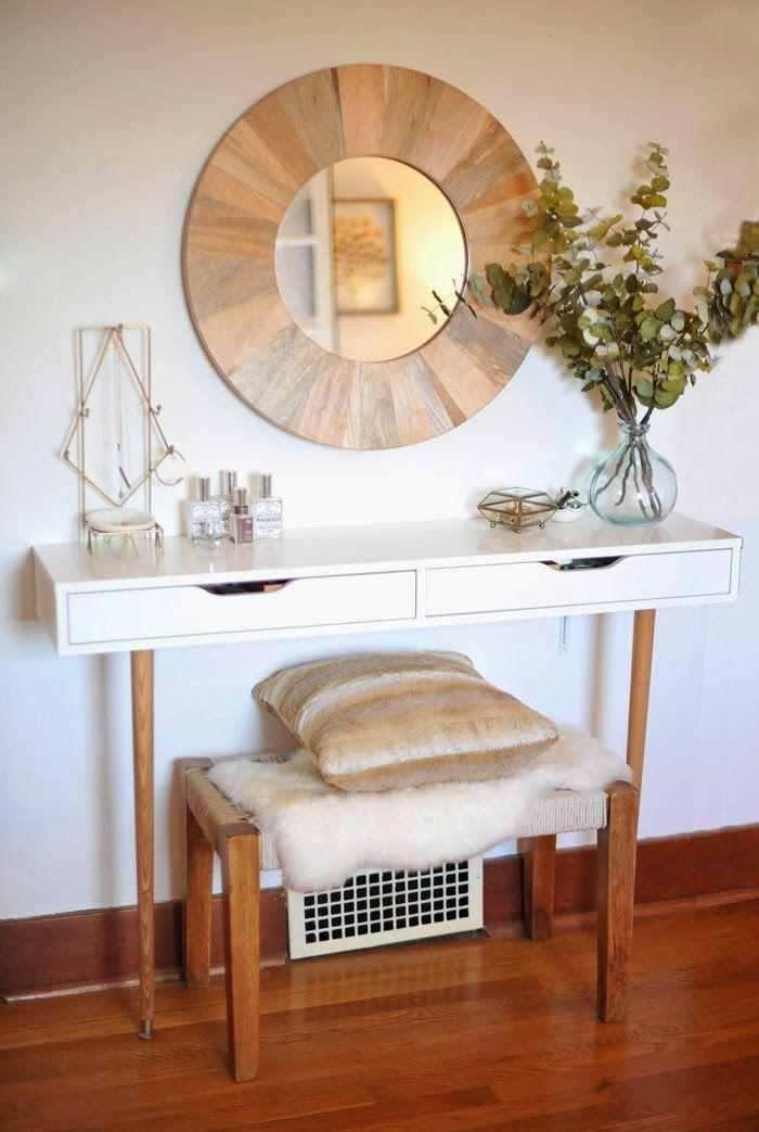 """<p>If you're looking for a chic alternative to your standard vanity, check out this super-glam creation. The blogger paired the EKBY ALEX shelving with old-school wooden legs and a sheepskin-covered bench to create a gorgeous place to spend your mornings.</p><p>See more at <a href=""""http://www.newblooming.com/2015/01/diy-modern-vanity.html"""" rel=""""nofollow noopener"""" target=""""_blank"""" data-ylk=""""slk:A New Bloom"""" class=""""link rapid-noclick-resp"""">A New Bloom</a>.</p><p><a class=""""link rapid-noclick-resp"""" href=""""https://www.amazon.com/WADDELL-MANUFACTURING-2516-Round-Table/dp/B000BQYD6U/?tag=syn-yahoo-20&ascsubtag=%5Bartid%7C2089.g.29514474%5Bsrc%7Cyahoo-us"""" rel=""""nofollow noopener"""" target=""""_blank"""" data-ylk=""""slk:BUY NOW"""">BUY NOW</a> <em><strong>Desk Legs, $5, </strong></em><em><strong><span class=""""redactor-unlink"""">amazon.com</span></strong></em></p>"""
