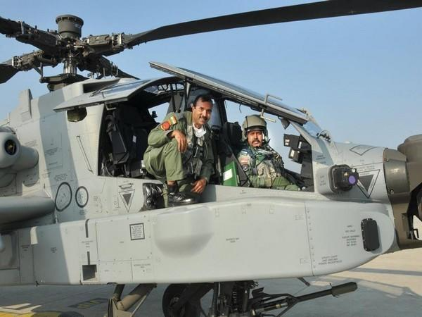 Indian Air Force Chief RKS Bhadauria undertook a sortie in an Apache attack helicopter (Photo ANI)