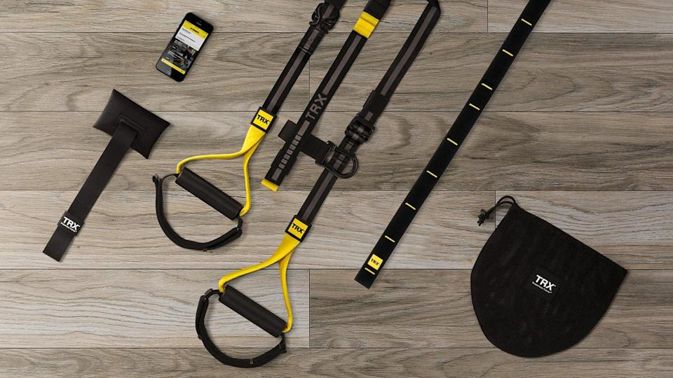 """<p>Your home gym should leave no muscle behind. Robinson recommends the <span>TRX Home2 System</span> ($185, originally $200) for its ability to hit those hard-to-reach muscles. """"It supports back exercises that are pretty hard to tackle without some real gym equipment, and it adds stability challenges, too,"""" Robinson told POPSUGAR.</p>"""