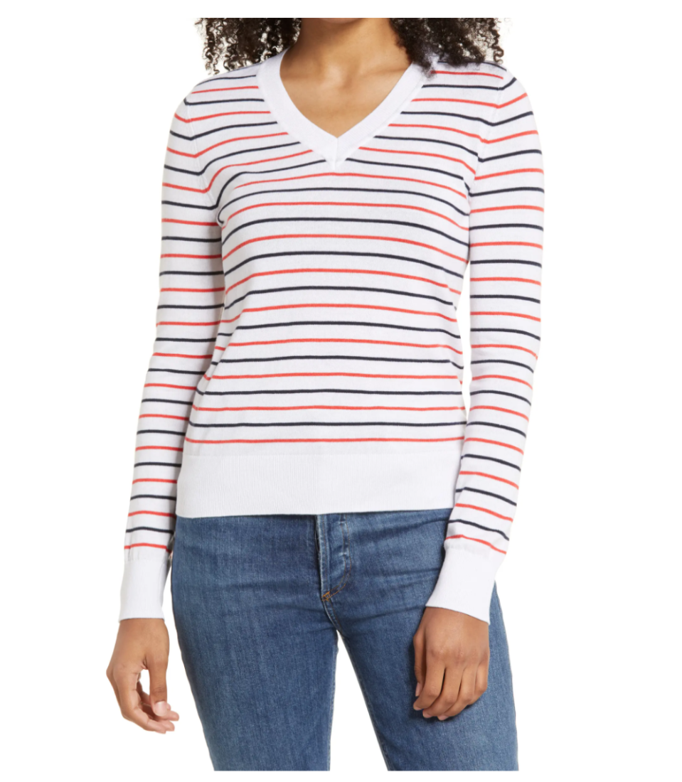 1901 Cotton V-Neck Sweater. Image via Nordstrom.