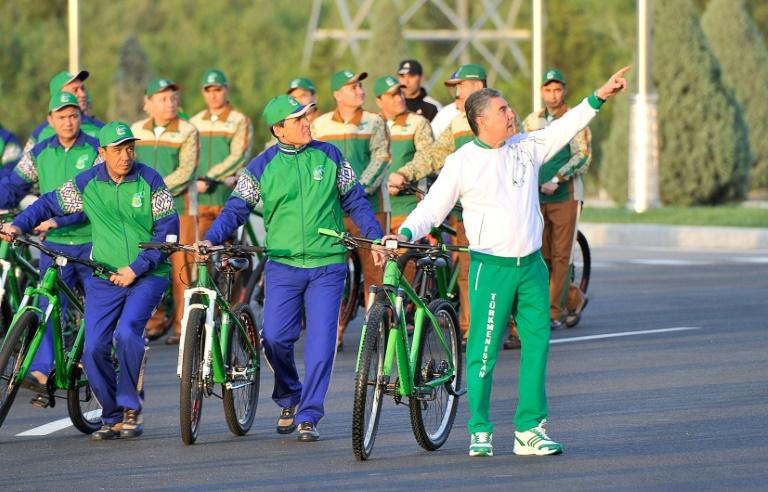 Turkmenistan's President Gurbanguly Berdymukhamedov hailed the bicycle as 'a model of ecological transport' (AFP Photo/Igor SASIN)